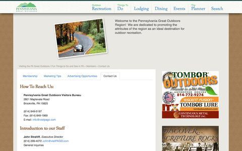 Screenshot of Contact Page visitpago.com - Contact Us - captured Nov. 1, 2016