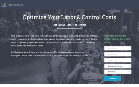 Screenshot of Landing Page hotschedules.com - Optimize Labor and Control Costs - captured April 5, 2017