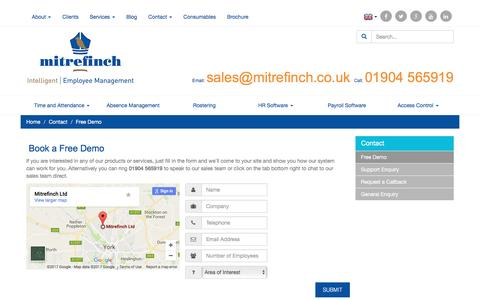 Screenshot of Trial Page mitrefinch.co.uk - Contact us - Demo │ Mitrefinch - captured March 10, 2017