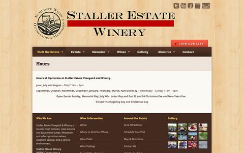 Screenshot of Hours Page stallerestate.com - Hours – Staller Estate Winery - captured Dec. 7, 2016