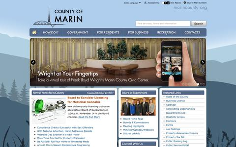 Screenshot of Home Page marincounty.org - Marin County - captured Oct. 28, 2017