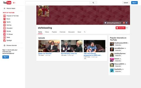 Screenshot of YouTube Page youtube.com - stofwisseling  - YouTube - captured Oct. 26, 2014