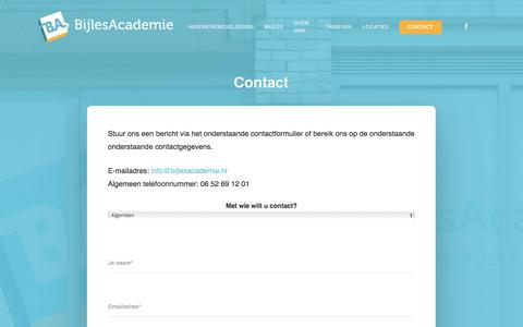 Screenshot of Contact Page bijlesacademie.nl - CONTACT | BijlesAcademie - captured Aug. 2, 2018