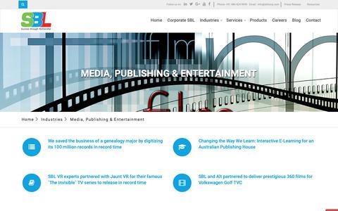 Screenshot of Press Page sblcorp.com - Media, Publishing & Entertainment - captured Sept. 30, 2018