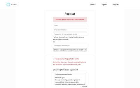 Screenshot of Signup Page korbit.co.kr - Signup - Korbit - captured Nov. 15, 2018