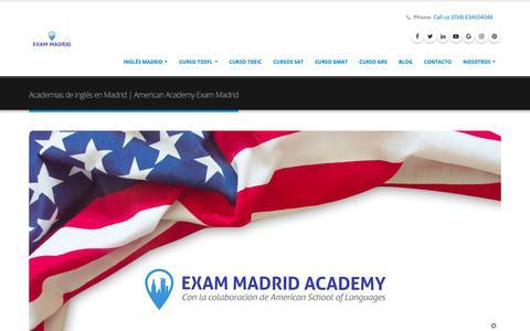 Screenshot of Home Page ingles-madrid.com - Academias de inglés en Madrid   American Academy EXAM MADRID - captured Oct. 4, 2018