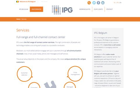 Screenshot of Services Page ipg-callcenter.be - Full-range and full-channel contact center| IPG Belgium - captured May 15, 2016