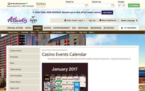 Screenshot of atlantiscasino.com - Casino Events Calendar | Atlantis Casino Reno - captured Jan. 10, 2017