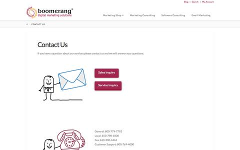 Screenshot of Contact Page boomerang.com - Contact Us | Digital Marketing Services | Boomerang - captured Oct. 20, 2015