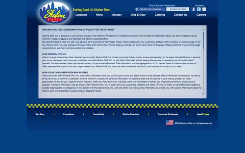 Screenshot of Privacy Page skylinechili.com - Skyline Chili - Privacy Policy - captured Sept. 24, 2014