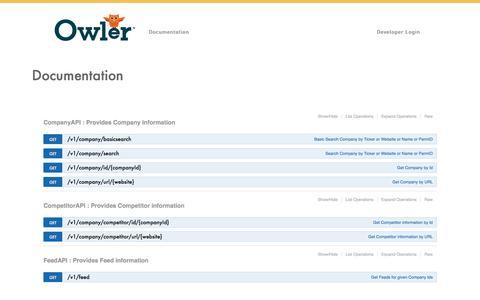 Owler Developer Site