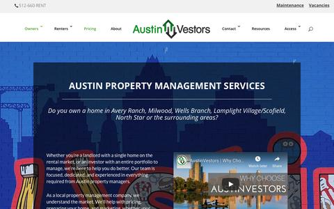 Screenshot of Pricing Page austinvestors.com - Austin Property Management Services - AustinVestors Property Management - captured Oct. 22, 2018