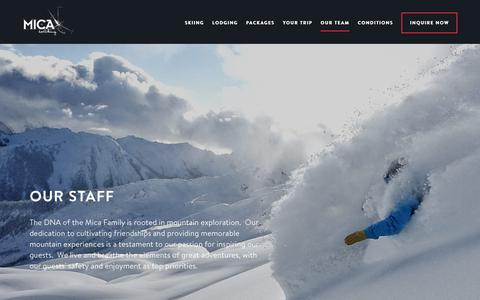 Screenshot of Team Page micaheli.com - Our Staff | Mica Heli Skiing - captured Feb. 2, 2019
