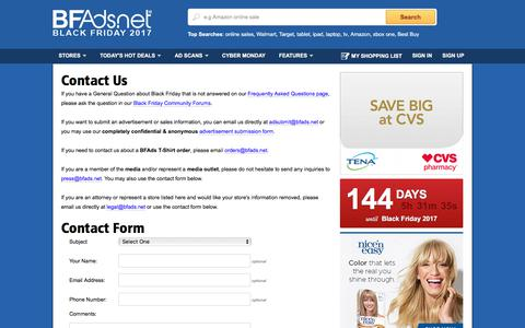 Screenshot of Contact Page bfads.net - Black Friday Ads - Contact Us / About Us / Press Contact - captured July 2, 2017