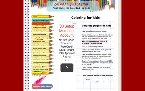 Screenshot of Home Page coloring-kids.com - Coloring for kids - Coloring pages for kids - Free, printable coloring book pages - Color pages - Kids coloring pages - Coloring sheet - Kids color pages - Coloring book - Disney and cartoon coloring pages - captured Oct. 18, 2015