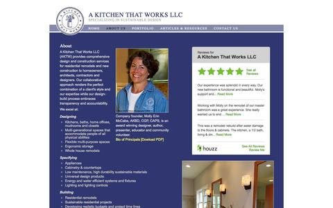Screenshot of About Page akitchenthatworks.com - Sustainable Design Molly Mccabe Design-build Environmentally Friendly USGBC Jerry McCabe | About | A Kitchen That Works LLC | Bainbridge Island Poulsbo Bremerton Silverdale - captured Oct. 2, 2014