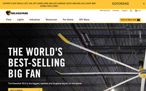Screenshot of Home Page bigassfans.com - Large Ceiling Fans, Floor & Wall Mount Fans and LED Lights from Big Ass Fans® - captured June 14, 2019