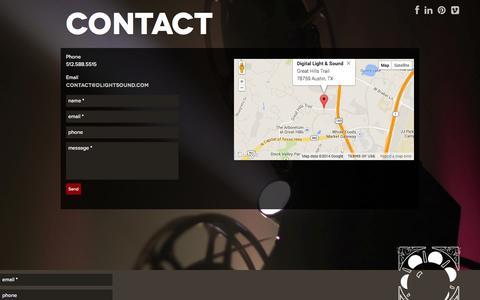 Screenshot of Contact Page dlightsound.com - Digital Light & Sound   Contact - captured Oct. 5, 2014
