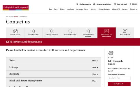 Screenshot of Contact Page kfh.co.uk - Contact KFH services and departments - captured Oct. 23, 2018