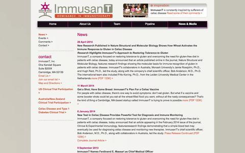 Screenshot of Press Page immusant.com - News «  ImmusanT - captured Oct. 27, 2014
