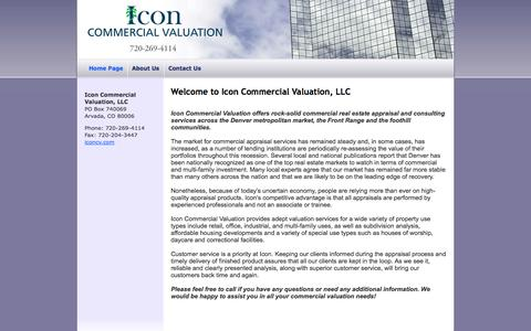 Screenshot of Home Page iconcv.com - Denver Commercial Appraisal Valuation Company serving the Front Range and foothills markets :: Icon Commercial Valuation, LLC - captured Oct. 6, 2014