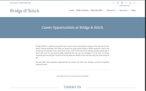Screenshot of Jobs Page bridgeandstitch.com - Careers – Bridge & Stitch - captured Nov. 23, 2016