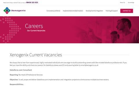Screenshot of Jobs Page xenogenix.co.uk - Rewarding Careers with Xenogenix ~ Salesforce Consulting Partner - captured Dec. 8, 2016