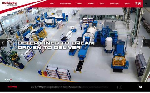Screenshot of Home Page mahindraaerospace.com - Mahindra Aerospace - captured Feb. 5, 2016