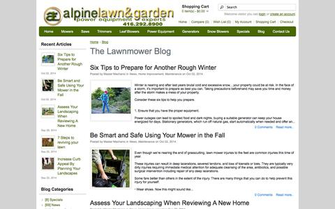 Screenshot of Blog alpinelawn.com - The Lawnmower Blog, Toronto, Ontario | Alpine Lawn & Garden Equipment - captured Oct. 4, 2014