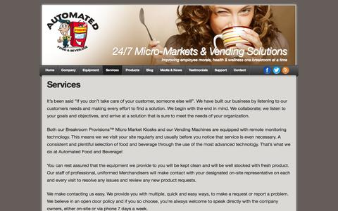 Screenshot of Services Page vendingarizona.com - Services | Automated Food & Beverage - captured Oct. 4, 2014