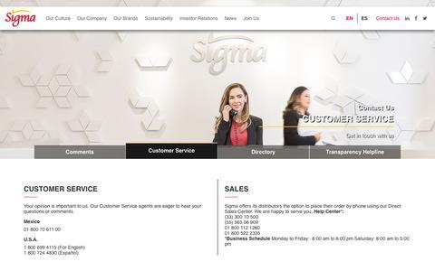 Screenshot of Support Page sigma-alimentos.com - Sigma Customer Service - Sigma Alimentos - Corporate - captured Sept. 20, 2018