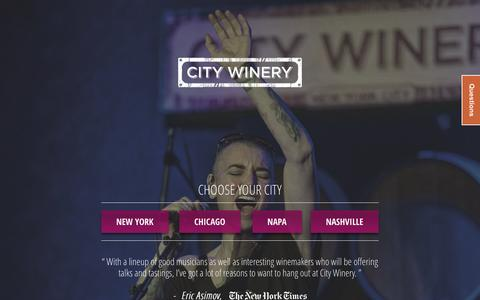 Screenshot of Home Page citywinery.com - City Winery | Official Website | Choose Your City - captured Sept. 23, 2014