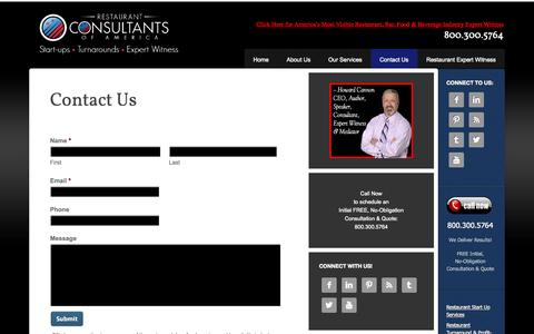 Screenshot of Contact Page restaurantconsultantsofamerica.com - Contact Restaurant Consultants of America - restaurant, bar, food service & hospitality industry experts - captured Oct. 8, 2014