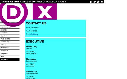 Screenshot of Contact Page dx.org - Contact Us | Design Exchange - captured Sept. 19, 2014