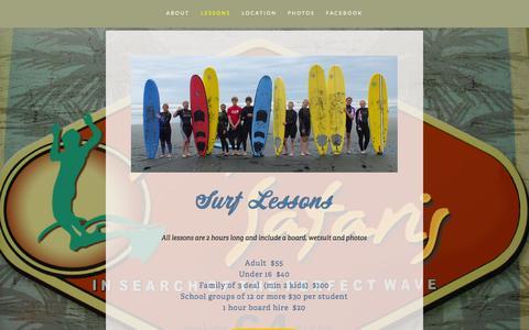 Screenshot of Menu Page surfinsafaris.co.nz - Lessons — Surfin Safaris - captured Oct. 7, 2014