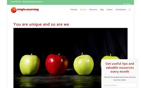 Screenshot of Services Page single-sourcing.com - Services - Single-Sourcing Solutions - consulting, training, implementation - captured Oct. 2, 2018