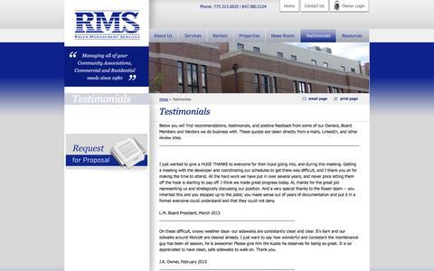 Screenshot of Testimonials Page rosenmanagement.com - Testimonials - captured Oct. 7, 2014