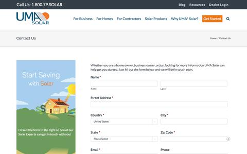 Screenshot of Contact Page umasolar.com - Contact Us - Get a Free Quote and Start Saving with Solar - UMA Solar - captured Feb. 10, 2018