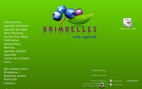 Screenshot of Home Page brimbelles.com - BRIMBELLES agenda - captured March 16, 2016