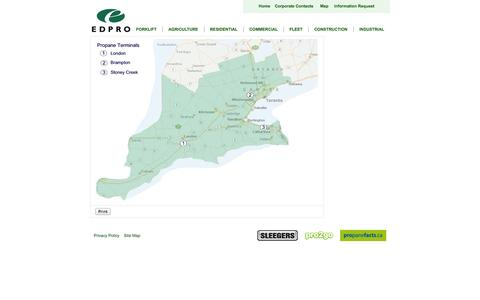 Screenshot of Maps & Directions Page edproenergy.com - Map of EDPRO Service Area - captured Oct. 1, 2014