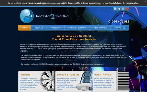 Screenshot of Home Page edsscotland.co.uk - Dust & Fume Extraction Services From EDS Scotland - captured Sept. 28, 2018