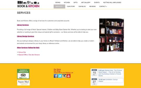 Screenshot of Services Page bookandkitchen.com - Book and Kitchen » SERVICES - captured Oct. 5, 2014