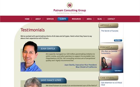 Screenshot of Testimonials Page putnam-consulting.com - Testimonials | Putnam Consulting Group - captured Oct. 3, 2014
