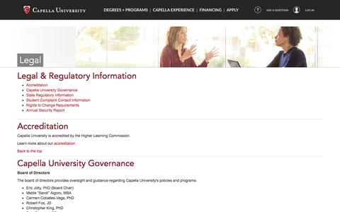 Screenshot of Terms Page capella.edu - Capella University - Legal, Regulatory and Accreditation Information - captured July 20, 2017