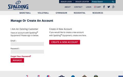 Screenshot of Login Page spaldingequipment.com - Manage Your Account | Spalding Equipment - captured Dec. 21, 2016