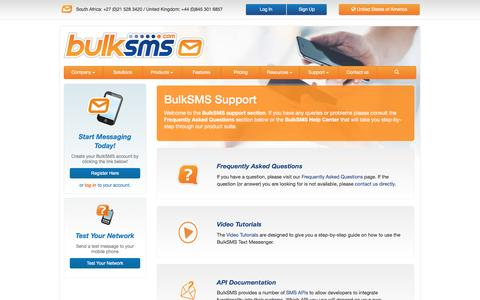 Screenshot of Support Page bulksms.com - Support | BulkSMS.com - captured Aug. 23, 2016