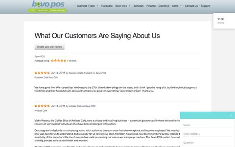 Screenshot of Testimonials Page bevopos.com - What Our Customers Are Saying About Us - Bevo POS Restaurant SoftwareBevo POS Blog - captured Nov. 21, 2016
