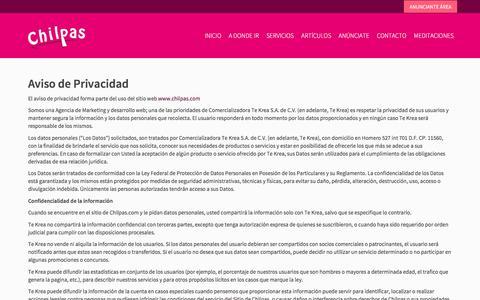 Screenshot of Privacy Page chilpas.com - Aviso de Privacidad | Chilpas - captured July 17, 2018