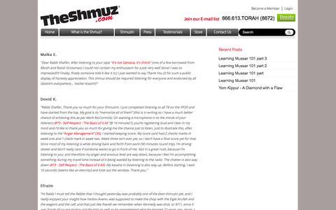 Screenshot of Testimonials Page theshmuz.com - Testimonials | The Shmuz - captured Oct. 6, 2014