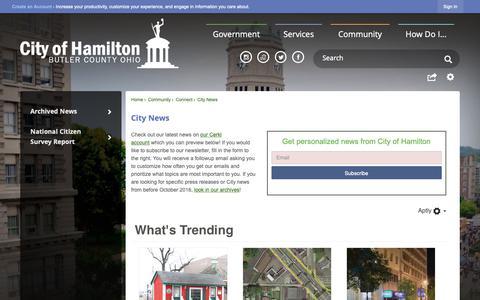 Screenshot of Press Page hamilton-city.org - City News | Hamilton, OH - captured Dec. 12, 2018
